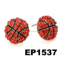 Wholesale Orange Crystal Basketball Stud Earrings
