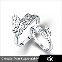 Unique Design Wedding Decoration Imitation Couple Butterfly Ring