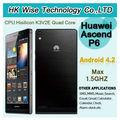 2013 topsale 4.7 pulgadas huawei ascend p6 teléfono hisilicon k3v2e quad core 1.5 ghz 2gb/8gb bluetooth gps de doble cámara