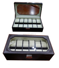 Luxury wooden leather watch display case