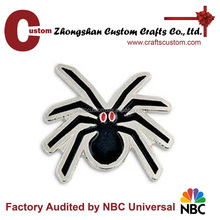 metal black spider with red eyes halloween lapel pin