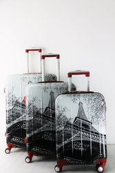 High quality printed designing colorful figures ABS+PC trolley case luggage