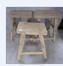 Chinese antique square rustic wooden natural stool