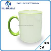 Side Colourful handle ceramic Mug can with any sublimation image