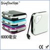 Dual usb output power bank with dual cables, bulit-in cable power bank 6000mAh (XH-PB-089)