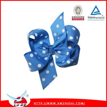 2015 New arrival 3 inch baby hair bow/dots colors baby hair bow attached with a 45mm single prong alligator clip