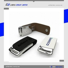 business gift embossed custom metal leather usb flash drive