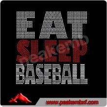 Beautiful Eat Sleep Baseball Iron On Rhinestones for T-shirt
