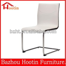 hot sale genuine white leather dining chair with metal chromed leg for restaurant/dining room c881