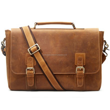 Professional Leather Factory Men's Crazy-Horse Leather Business Briefcase Shoulder Laptop Bag Made in China