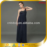 New 2016 Trendy Evening Dress One Shoulder Beading Pleated Long Chiffon Dresses