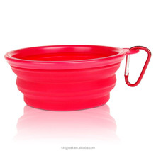 2015 New Design Silicone Dog Bowls Collapsible Portable Travel Pet Water Bowl (12 Oz) with Free Bonus Carabiner Belt Clip