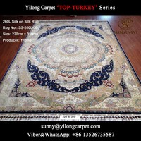 blue 100% natural silk rug 220x310cm handmade Chinese hand knotted carpet