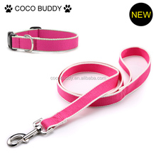 Pink color bamboo dog leash and collar pet dog leash factory in Guangzhou