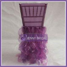 C009AB purple organza wedding ruffled chair cover