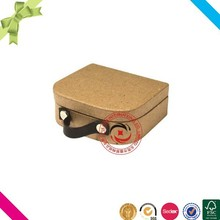 China trends kraft paper small suitcase gift box with PU handle