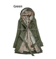 2015 New women's fancy coat thicken fur lining coat winter warm corduroy trench coat overcoat long jacket latest design 2015
