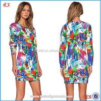 Fashion hawaiian style printed design ladies dress women clothing