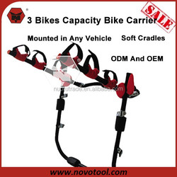 China Manufacutrer Cheap And High Quality 3 Bikes Capacity Steel Trunk Mount Bike Rack For Car Trunk