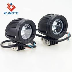 ZJMOTO Universal Chopper/Custom Black Motorcycle Auxiliary Light Auxiliary Lamps LED Fog Lights