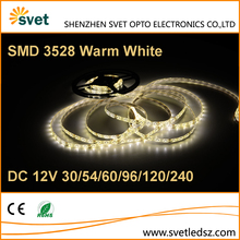 Continuous Length 3528 Warm White 60 leds Flexible SMD Led Strip Light 1 year Warranty