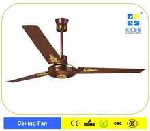 brown decorative ceiling fan with golden parts