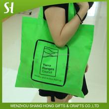 Silk print nonwoven foldable shopping bag with zipper Folding tote bag