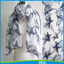 2015 ocean starfish conch polyester voile scarf