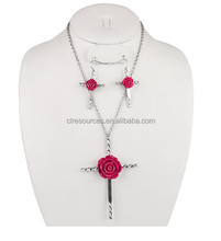 Necklace and earring (hook) set Chain necklace with cross. Decorated with flower rose charm accent. lobster claw closure