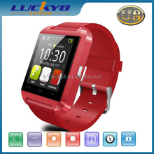 Smart Phone Gmail QQ MESSAGE waterproof bluetooth MTK6260-A stocked silicon sports wristband U8 wrist smart watch Android