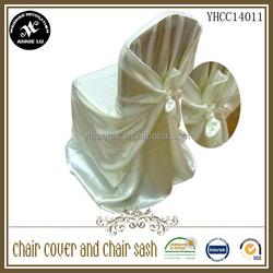 2014 Wholesale cheap satin univesal self tie wedding chair cover