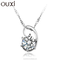 OUXI 925 silver Zircon diamond pendant accessories , cz crystal pendant , silver necklace Y30083