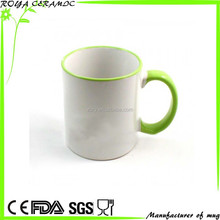 Sublimation mugs with color rim and handle