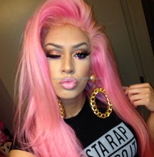 Top quality brazilian human hair pink full lace wig