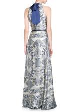 Contrast tie-neck gown Light Blue Prom Dresses LD8846