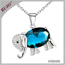 amazing design elephant with zircon necklace jewelry 925 sterling silver