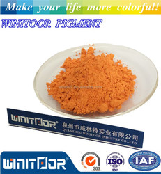 Iron oxide orange inorganic pigment for concrete and cement products