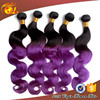Wholesale 6a virgin brazilian remy human hair Black to Purple Ombre Human Hair Extensions
