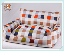 Hot Sale Luxury Striped Pet Dog Sofa Bed PP Cotton Padded Puppy House Waterproof Bottom Canvas Dog Kennels
