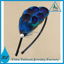 Summer Hair Fascinator, Boho Peacock Feather Headband