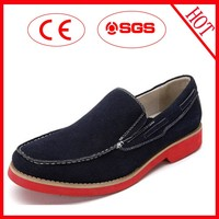 men split leather casual shoes with canvas lining