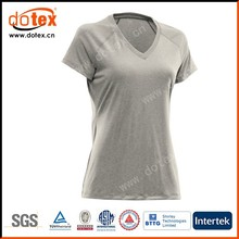 2015 moisture wicking dry rapidly fit ladies woman V neck solid color t shirt