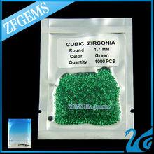 1.7mm sintético esmeralda, piedra preciosa