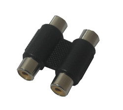 Double RCA female to female adapter balck color