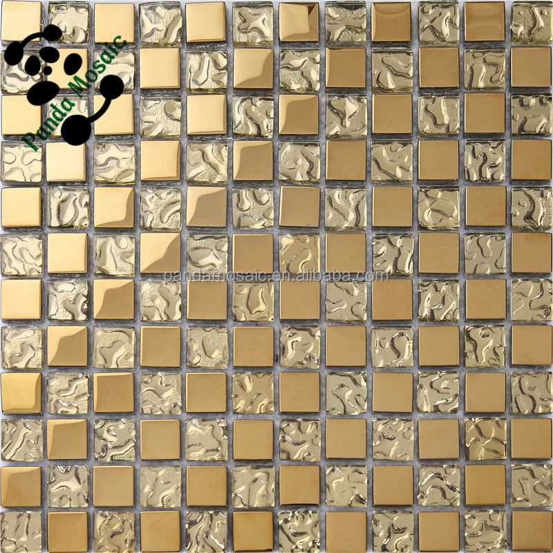 Smp05 Mosaic Tile Colored Mirror Gold Mosaic Tile Crystal Ceramic
