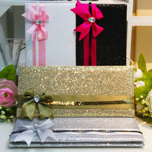 Glitter Printing Modern Luxury Handmade Silk Invitation Card
