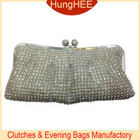 Kiss lock Silver Metal white Crystal Mesh Evening purse