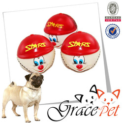 [Grace Pet] Non-Toxic Rubber Sound Happy Face Rugby Dog Training Pet Chew Toy