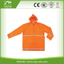 fashional cheap polyester safety rain suit with hood/ bibpants/with silvern reflector tape
