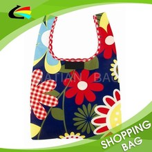 Flower Print Polyester Foldable Shopping Tote Bag